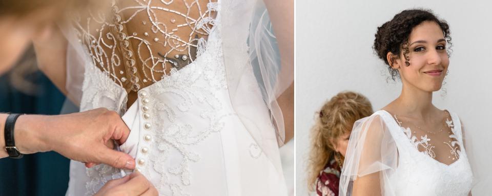 photographe mariage Lausanne enfilage robe