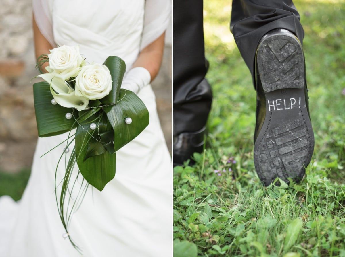 le bouquet de la mariée et la semelle du marié