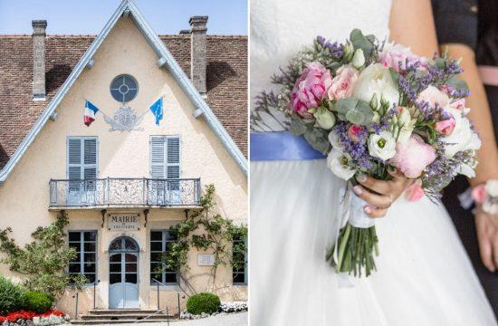 La mairie de Tresserve et le bouquet de la mariée